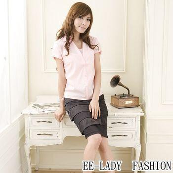 【EE-LADY】OL小V領側邊拉皺綁帶短袖襯衫-粉色(34,36吋)