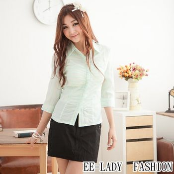 【EE-LADY】OL兩色條紋荷葉蓋釦七分袖襯衫-綠色(34吋)