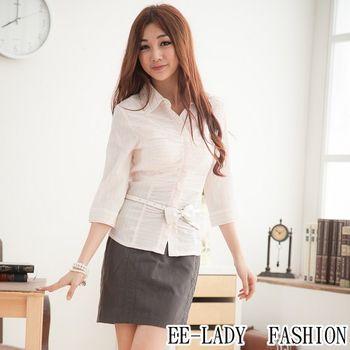 【EE-LADY】OL兩色條紋荷葉蓋釦七分袖襯衫-粉色(36,38,40,42)