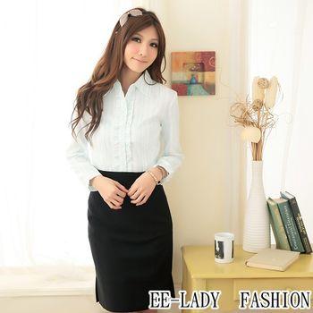 【EE-LADY】OL甜美系列荷葉條紋長袖襯衫-藍色(36,38)