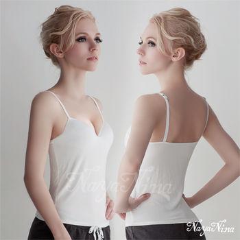 薇珍妮  Bra Top細肩帶無鋼圈罩杯內搭背心(M)#白
