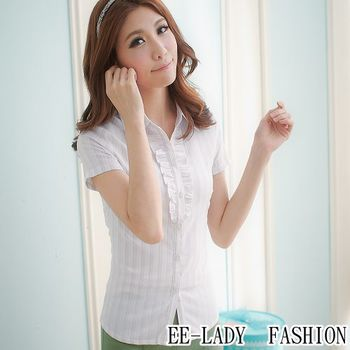 【EE-LADY】OL短袖襯衫襯衫-紫色(40,42)