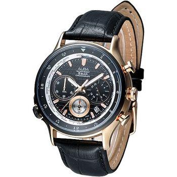 ALBA 優質3眼計時世界時間GMT腕錶(AT3384X1)
