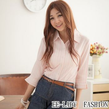 【EE-LADY】OL條紋五分袖襯衫-粉色(36吋)