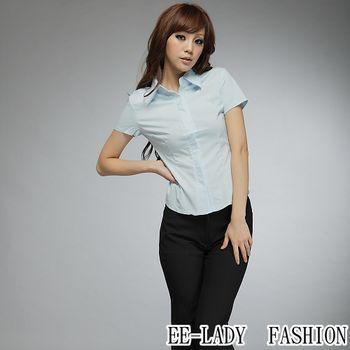 【EE-LADY】OL蓋釦短袖襯衫-藍色(36吋)