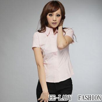 【EE-LADY】OL蓋釦短袖襯衫-粉色(36,38)