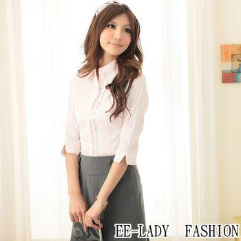 【EE-LADY】OL荷葉條紋七分袖襯衫--粉色(36吋)