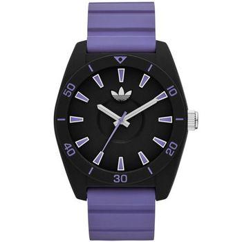 adidas Originals Santiago 玩色派對三葉草矽膠腕錶-黑x紫 40mm / ADH9061