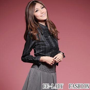 【EE-LADY】OL前襟皺褶條紋長袖襯衫-黑色(36,38)