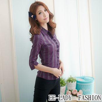【EE-LADY】OL直條紋荷葉邊七分袖襯衫-紫色(34,36)