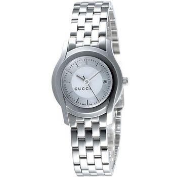 【GUCCI】5505 都會經典時尚女錶(銀白)YA055519