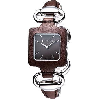 GUCCI 1921 經典時尚名媛手鍊錶-咖啡YA130403