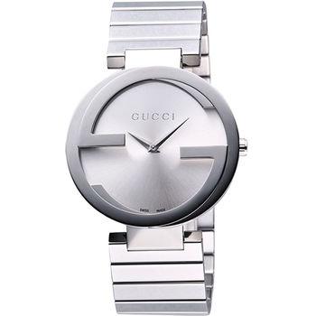 GUCCI Interlocking 時尚元素腕錶-銀YA133308