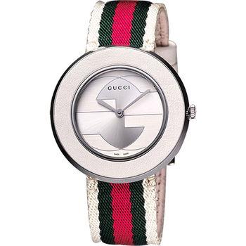 GUCCI U-Play 系列 GG 經典腕錶-白YA129411
