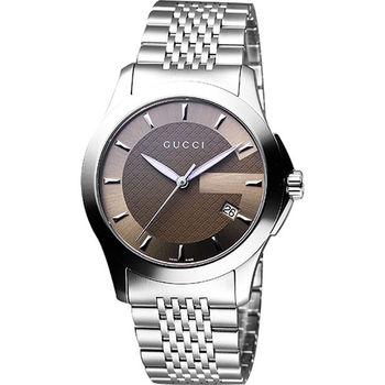 GUCCI G-Timeless 經典古馳菱格紋時尚腕錶-咖啡YA126406