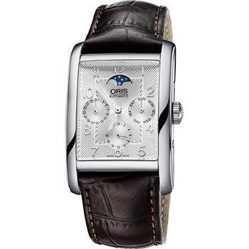 ORIS Rectangular 經典月相機械腕錶-銀x咖啡0158276944061-0752420FC