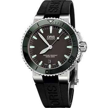 Oris Aquis 時間之海專業潛水機械腕錶-灰x綠框0173376534137-0742634EB