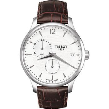 TISSOT Tradition GMT 二地時區經典腕錶-T0636391603700