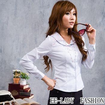 【EE-LADY】OL圓領條紋長袖襯衫-藍色(34吋)