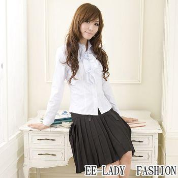 【EE-LADY】OL前皺摺條紋長袖襯衫-藍色(40吋)