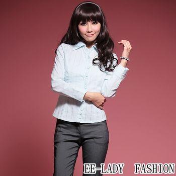 【EE-LADY】OL直條紋荷葉邊長袖襯衫-藍色(36吋)