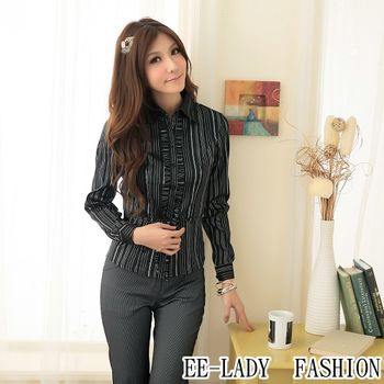 【EE-LADY】OL腰部綁帶直條紋長袖襯衫-黑(34吋)