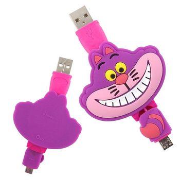 【Disney】Micro USB 造型伸縮傳輸線 -柴郡貓