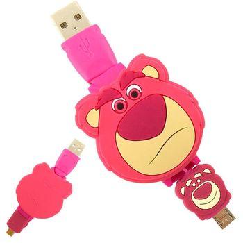 【Disney】Micro USB 造型伸縮傳輸線 -熊抱哥