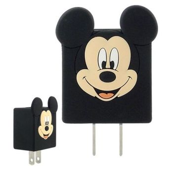 【Disney】可愛造型充電轉接插頭 USB充電器 -米奇
