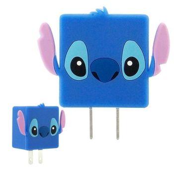 【Disney】可愛造型充電轉接插頭 USB充電器 -史迪奇