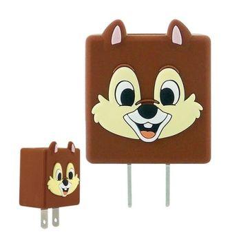 【Disney】可愛造型充電轉接插頭 USB充電器 -奇奇