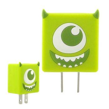 【Disney】可愛造型充電轉接插頭 USB充電器 -大眼仔