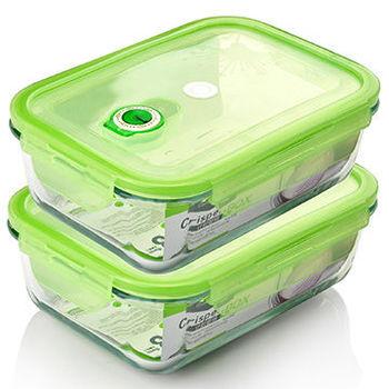 【品愛生活】長方型玻璃密封保鮮盒1700ml兩件組