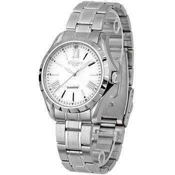 BOSSWAY都會型男時尚鑽錶(白/玫瑰金-39mm)