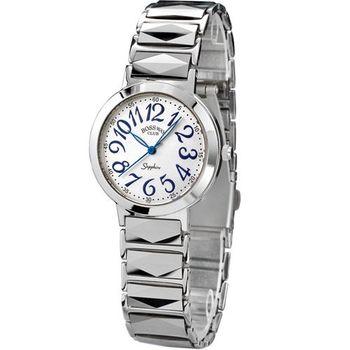 BOSSWAY 時尚優雅鎢鋼腕錶-白/粉紅-34mm