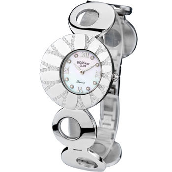 BOSSWAY戀人花語時尚真鑽腕錶-銀X白-33mm