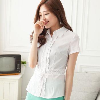 【EE-LADY中大尺碼】OL腰蕾絲綁帶短袖襯衫-白色(48-50)