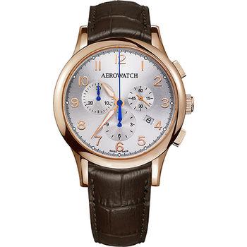 AEROWATCH Grace優雅風範三眼計時腕錶A83966RO01