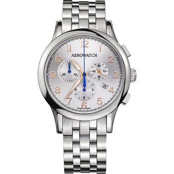 AEROWATCH Grace優雅風範三眼計時腕錶A83966AA03M