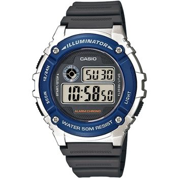 CASIO 競速電小子休閒數字錶(藍框) W-216H-2A