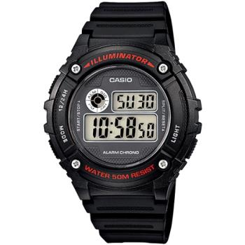 CASIO 競速電小子休閒數字錶(紅字黑框) W-216H-1A