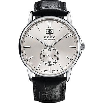 EDOX Les Bemonts 薄曼系列大視窗小秒針腕錶-銀E64012.3.AIN