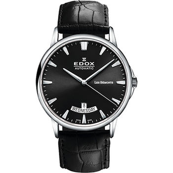 EDOX Les Bemonts 薄曼系列機械腕錶-黑E83015.3.NIN