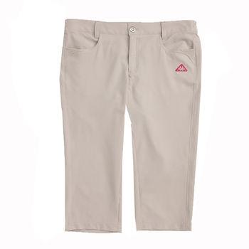 KAPPA義大利 女吸濕排汗平織七分褲(寬鬆版)~卡其色-FB42-7900-6
