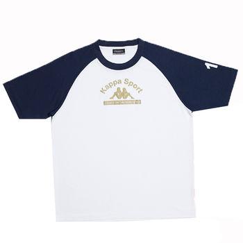 KAPPA義大利小朋友吸濕排汗速乾彩色圓領衫~丈青/白色-GA81-A006-0