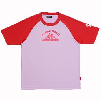 KAPPA義大利小朋友吸濕排汗速乾彩色圓領衫~紅/粉紅色-GA81-A006-9