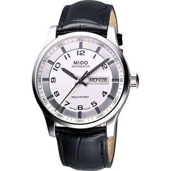 MIDO Multifort Gent 時尚機械皮帶腕錶-銀白 M0054301603200
