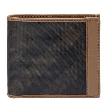 BURBERRY 經典煙燻格紋系列小牛皮飾邊多卡短夾(奶茶色)3901832-DARK-CHINO