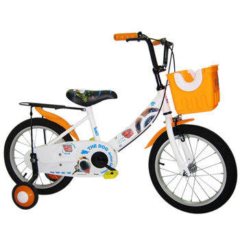 【Adagio】16吋酷樂狗打氣胎童車附置物籃-橘色