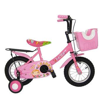【Adagio】12吋大頭妹打氣胎童車附置物籃-粉色~台灣製造